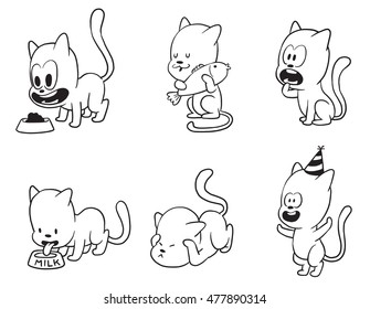 Vector cartoon set of cute little cats: in a festive cap, with a bowl of food, with a fish, begging for food, drinking milk and afraid of something on a white background. Made in monochrome style.