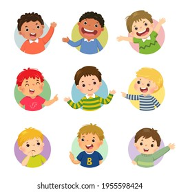Vector cartoon set of different boy kids with various postures.