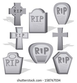 Vector Cartoon Set Of Different Gray Graves