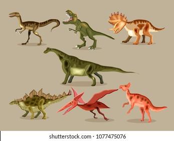 Vector cartoon  set of a dinosaurs. T-REX,  Tyrannosaur, Velociraptor, Triceratops, Brontosaurus, Parasaurolophus, Stegosaurus, Pteranodon.