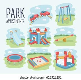 Vector cartoon set of elements of children playground. Swings, sandpit, sandbox, slide, bouncer castle, trampoline, roller coaster, seesaw. Kids playground on nature background. Park amusments.