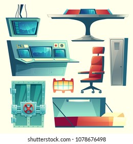 Vector cartoon set with equipment for underground bunker, bomb shelter, base for survival. Hiding place to protection from danger and war, command post with control panel and furniture