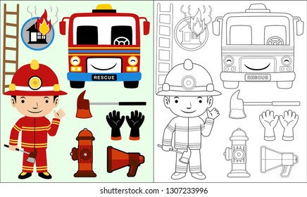 Vector cartoon of set fire equipment, fire man with axe, coloring book or page