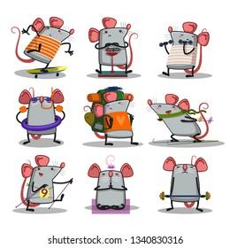 vector cartoon set of funny animals sports activity - Vector