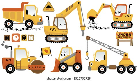 vector cartoon set of funny construction vehicles