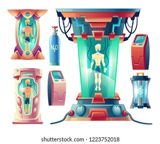 Vector cartoon set with futuristic equipment for hibernation, cryogenic cameras with sleeping humans inside. Modern cryonics technology, astronauts in capsules with cryogen for travel in deep space