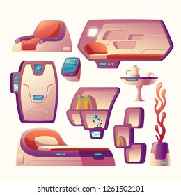 Vector cartoon set with futuristic objects for spaceship cockpit isolated on background. Furniture for spacecraft interior, compartment for sleeping, bed, metal door, shelves and chair, pot with plant