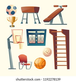 Vector cartoon set of gym equipment for school, college. Basketball, volleyball competition elements, scoreboard and balls. Wooden climbing frame and other training apparatus. Furniture for sport area