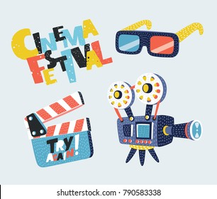 Vector cartoon set illustration of Movie Icons Set (Megaphone, Reel, Camera, Clapper Board. Hand drawn lettering Cinema Festival.