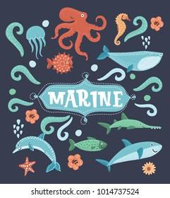 Vector cartoon set of illustration of Underwater animals and sea creatures icons. Ocean marine aquatic collection. Shark, dolphin, octopus, fish, seahorse, jellyfish, marine star, whales on dark