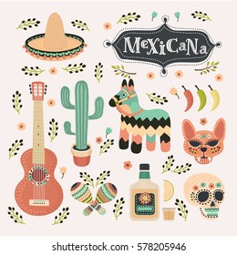 Vector cartoon set illustrations of mexican set in vintage color. Mexicana party icon, siesta, holliday, carnival