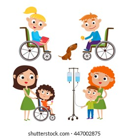 Vector cartoon set with kids: mother with her sick little son, boy and girl in a wheelchair isolated on white background. Happy children recovered from a bad disease.