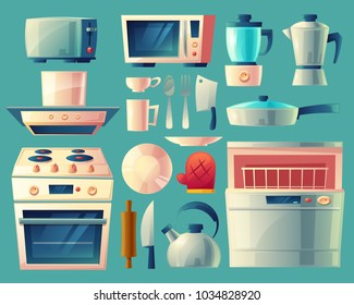 Vector cartoon set of kitchen appliances - washing machine, toaster, fridge, microwave, kettle, blender, stove with exhaust hood, pan, cup, knife, potholder Household objects cooking room interior