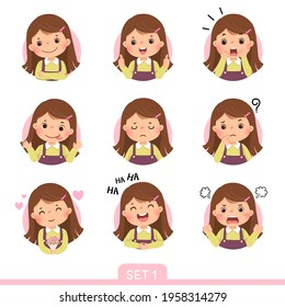 Vector cartoon set of a little girl in different postures with various emotions. Set 1 of 3.