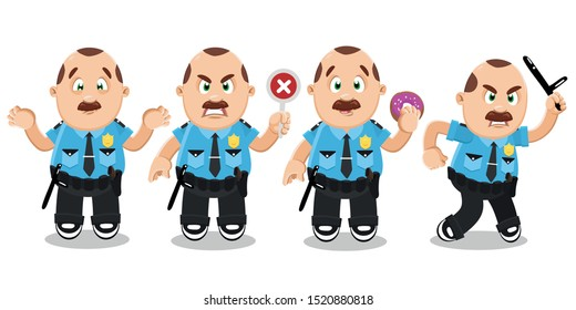 Vector cartoon set with mustached policeman in blue uniform in different mood and poses. Brown haired police officer making helpless gesture, keeping donut, baton, cross out sign, banning something.