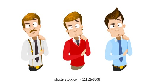 Vector cartoon set of office workers in business clothes. Characters thinking. Vector illustration in cartoon flat style, isolated on a white background.
