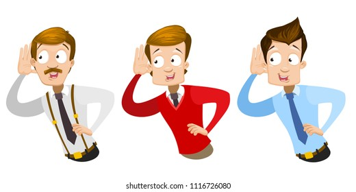 Vector cartoon set of office workers in business clothes. Characters listening something. Vector illustration in cartoon flat style, isolated on a white background.