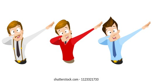 Vector cartoon set of office workers in business clothes. Characters making dab gesture. Dabbing dance character. Vector illustration in cartoon flat style, isolated on a white background