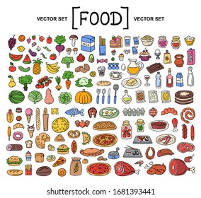 Vector cartoon set on the theme of food. Isolated colored doodles of fruits, vegetables, bakery products, meat, sausage, grocery on white background. Hand drawn elements