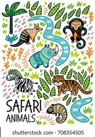 Vector cartoon set with tiger, rhino, monkey, zebra and chameleon in the jungle. Tropical decorative background
