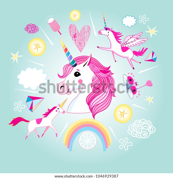 Vector cartoon set of unicorns and fabulous objects. Template for the design of the stickers of posters.