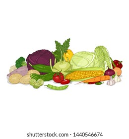 Vector Cartoon Set of Vegetables in Big Pile