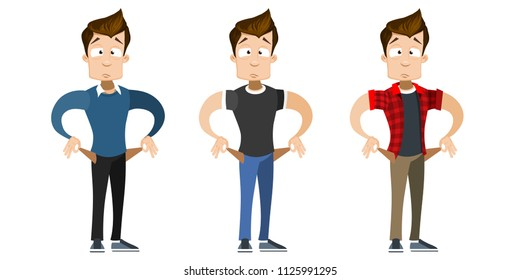 Vector cartoon set of young smiling guy in casual clothes. Character with pockets turned outward, having no money. Vector illustration in cartoon flat style, isolated on a white background