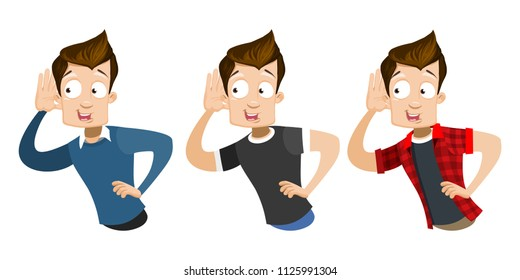 Vector cartoon set of young smiling guy in casual clothes. Character listening something. Vector illustration in cartoon flat style, isolated on a white background.