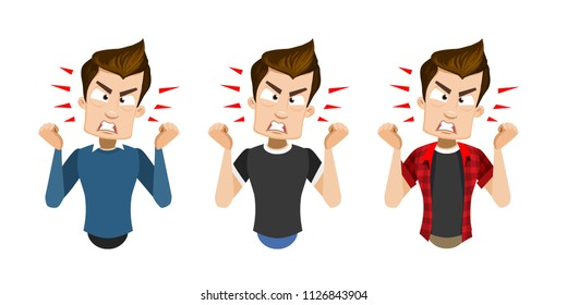 Vector cartoon set of young smiling guy in casual clothes. Character expresses his negative evil emotions, showing anger. Vector illustration in cartoon flat style, isolated on a white background