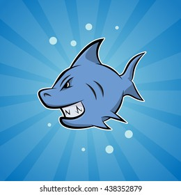 Vector cartoon shark on blue background.