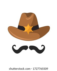 Vector Cartoon Sheriff Cowboy Hat with Gold Star Badge