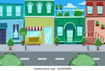 vector cartoon side street townhouse and shop with colorful wall and sidewalk and park trees illustration