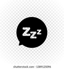 Vector cartoon sign illustration. Sleepy zzz black talk bubble icon on transparent background. Design concept about sleep, dream, relax, insomnia.