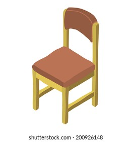 Vector cartoon simple hand drawn isometric wood chair icon. For ui, web games, tablets, wallpapers, and patterns.