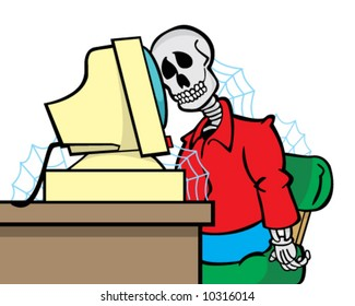 vector cartoon of skeleton of person who waited too long for a Web page to load