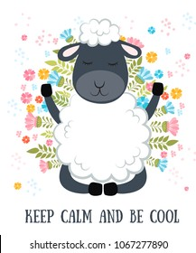 Vector cartoon sketch sheep illustration with motivation lettering phrase. Perfect for postcard, Valentine's day, anniversary, birthday, baby book.