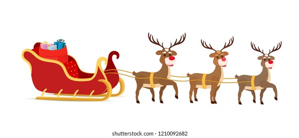 Vector cartoon sleigh with bag of gifts and reindeers, sled of Santa Claus. Christmas element with cute deers. Traditional transport for holiday.