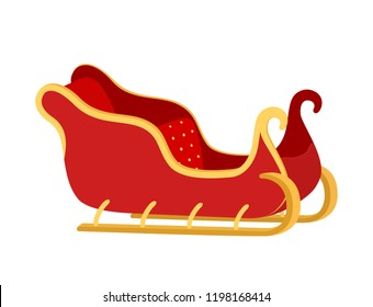 Vector cartoon sleigh of Santa Claus, golden elements on vehicle. Transport of Christmas holiday with red fabric, velvet and yellow buttons. Sled for winter.