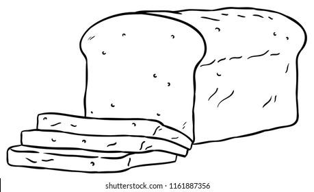 Vector Cartoon Sliced Loaf Bread Line Art