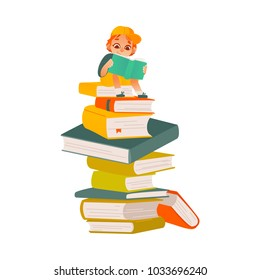 Vector cartoon small boy, male school or kindergarten character sitting at big book column, stack reading textbook smiling. Preschool child student, education literature concept. Isolated illustration