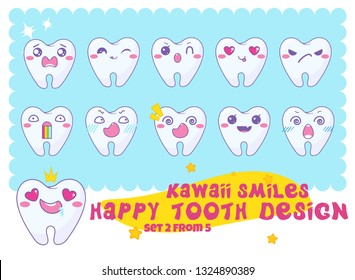 Vector cartoon smiles. Kawaii teeth with funny muzzles: happy, angry, grumpy, shy, sly, amazed, startled, loving, crying, whiner and more faces. Dental signs, symbols In Japanese anime style. Set 2/5