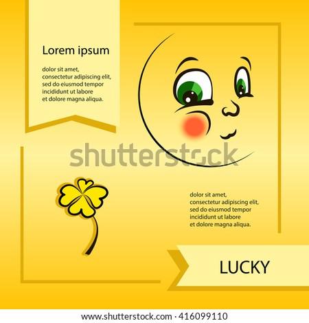 vector cartoon smiley face emoticon lucky stock vector royalty free