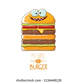 vector cartoon smiling big burger character with cheese, meat and salad icon isolated on white background. my name is burger vector concept illustration