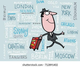 Vector cartoon of smiling business man with travel place name background.