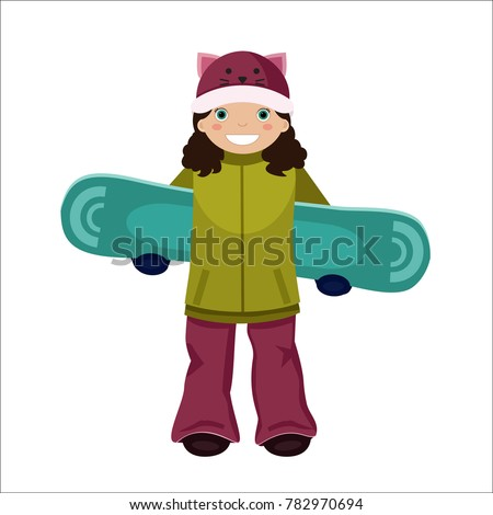 d9c9b14e5da Vector cartoon smiling teenager girl in ski suit and cute hat holding a snowboard  behind her