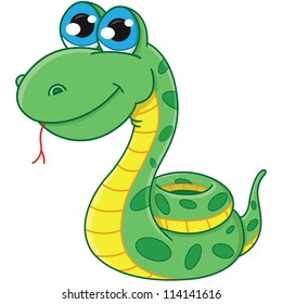 vector cartoon snake. symbol 2013