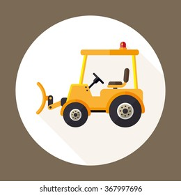 vector cartoon snow tractor / flat icon / yellow on white, circle