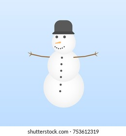 Vector Cartoon Snowman Isolated on Light Blue Background. Christmas, New Year Illustration. Web Icon. Flat style.
