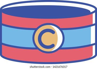 Vector Cartoon Soccer Captain Band Icon Illustration Isolated