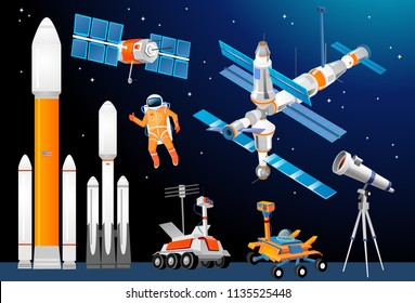 Vector cartoon space exploration set. Space rockets, astronomical telescopes, satellite dish, astronaut, rover, moon-rover, Space Station. Scientific equipment in space exploration.